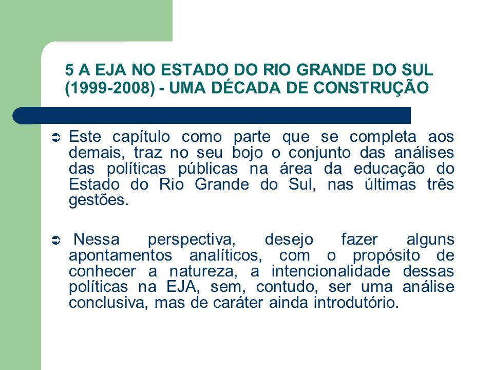 5 A EJA NO ESTADO DO RIO GRANDE DO SUL (1999-2008) - UMA DÉCADA DE CONSTRUÇÃO