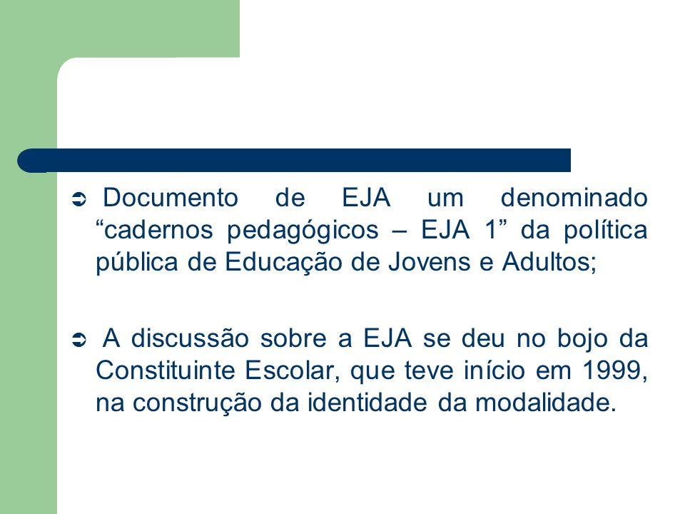 Documento de EJA um denominado cadernos pedagógicos – EJA 1 da política pública de Educação de Jovens e Adultos;