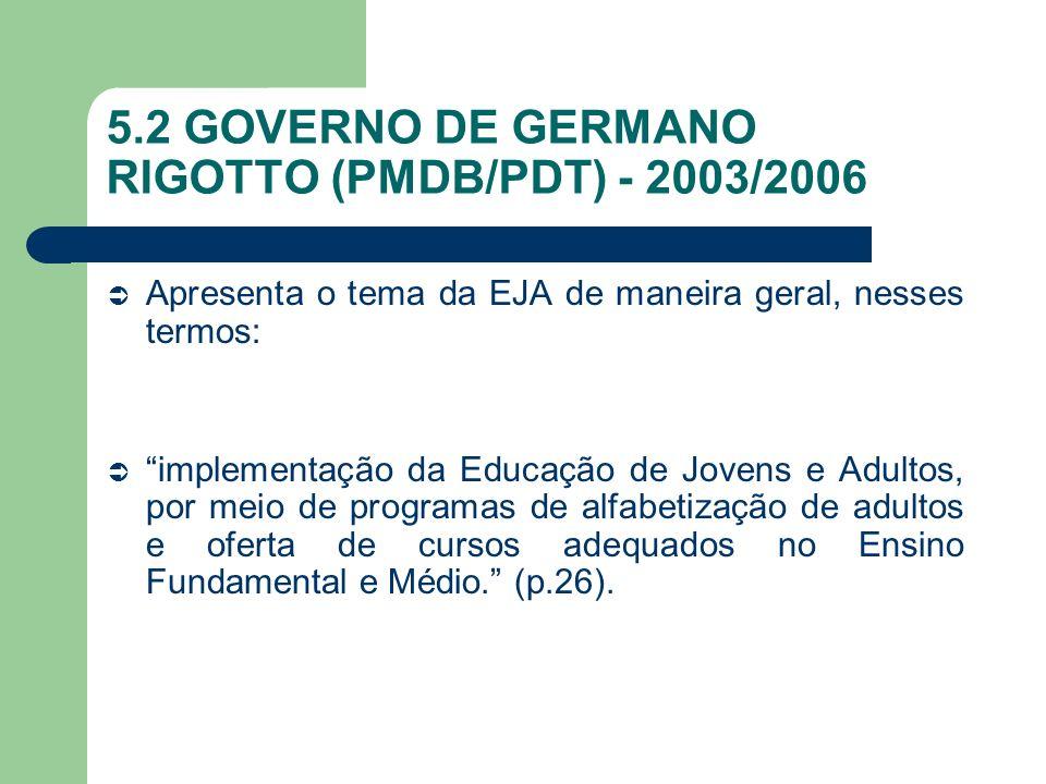 5.2 GOVERNO DE GERMANO RIGOTTO (PMDB/PDT) - 2003/2006