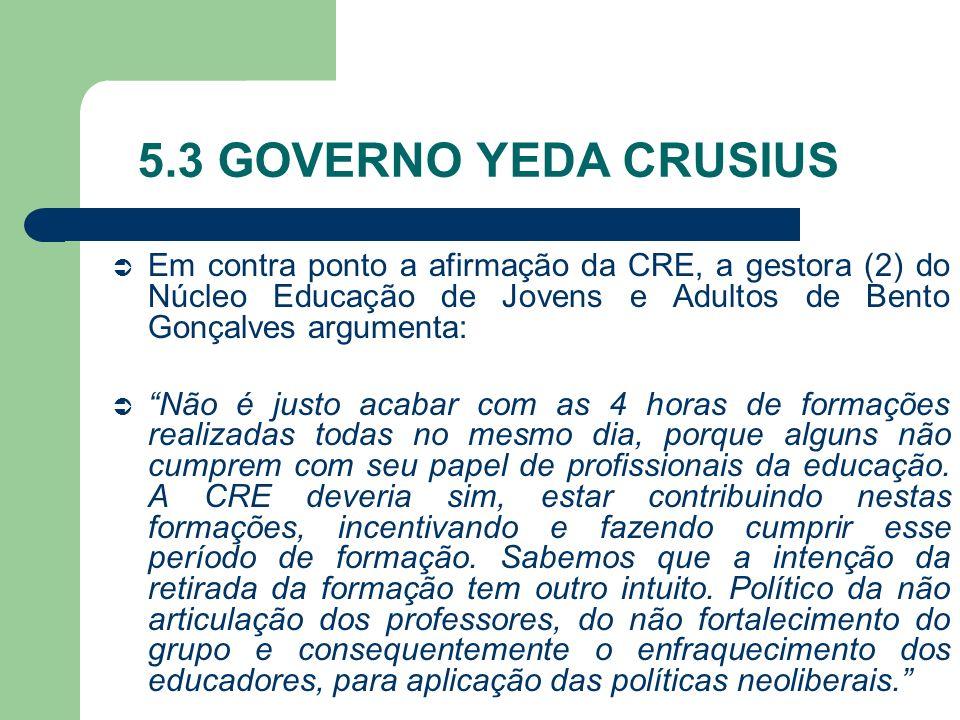 5.3 GOVERNO YEDA CRUSIUS Em contra ponto a afirmação da CRE, a gestora (2) do Núcleo Educação de Jovens e Adultos de Bento Gonçalves argumenta: