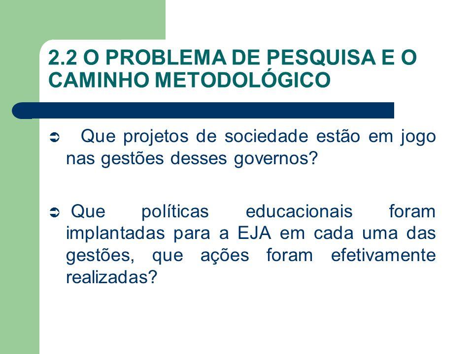 2.2 O PROBLEMA DE PESQUISA E O CAMINHO METODOLÓGICO