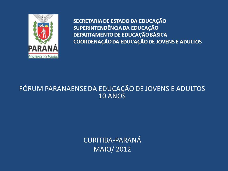 FÓRUM PARANAENSE DA EDUCAÇÃO DE JOVENS E ADULTOS 10 ANOS