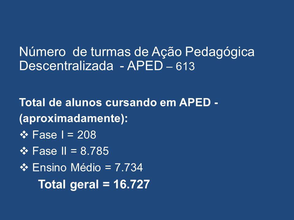 Número de turmas de Ação Pedagógica Descentralizada - APED – 613