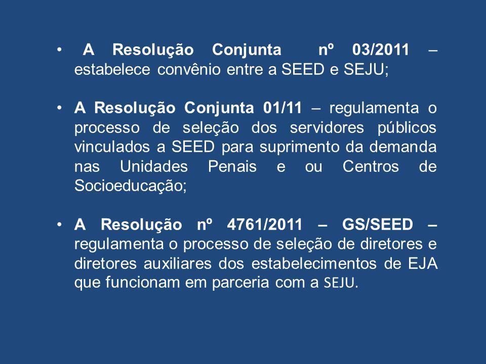 A Resolução Conjunta nº 03/2011 – estabelece convênio entre a SEED e SEJU;