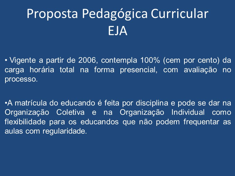 Proposta Pedagógica Curricular EJA