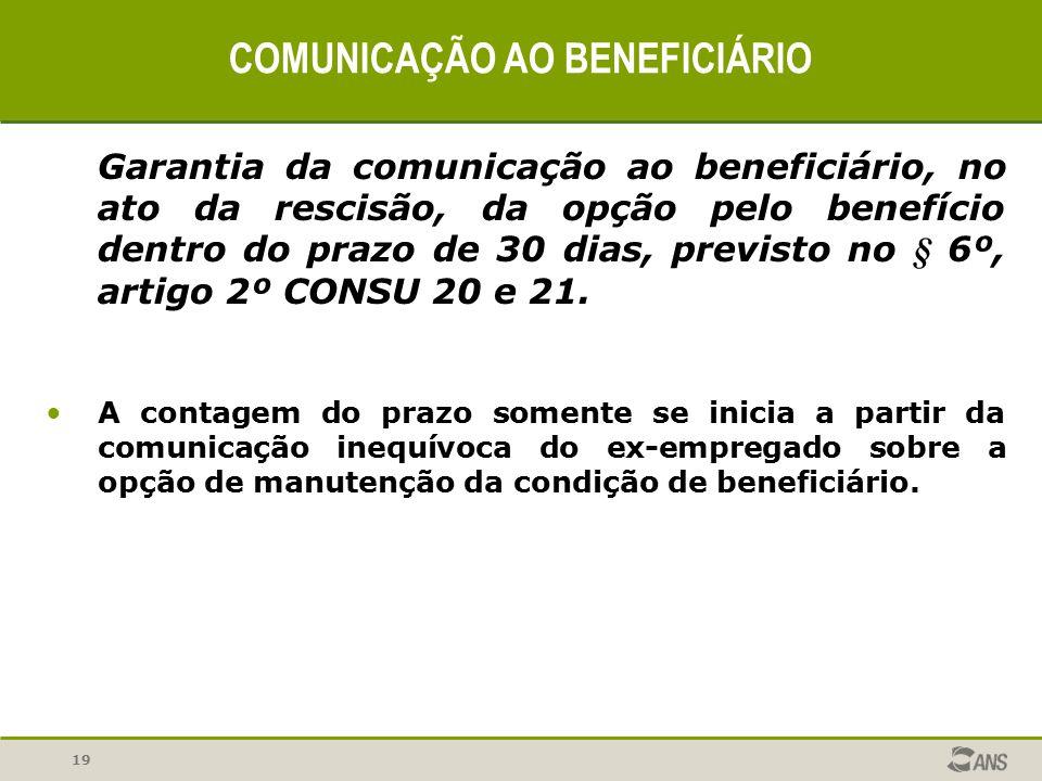 COMUNICAÇÃO AO BENEFICIÁRIO
