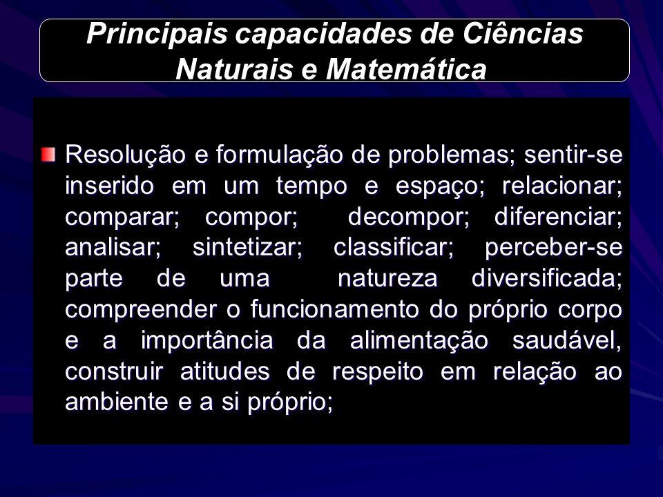 Principais capacidades de Ciências