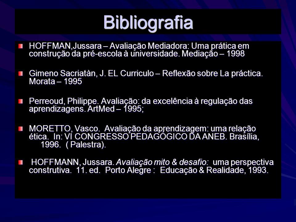 Bibliografia HOFFMAN,Jussara – Avaliação Mediadora: Uma prática em construção da pré-escola à universidade. Mediação – 1998.