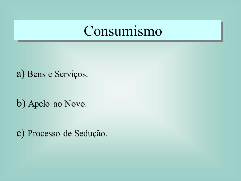 Consumismo a) Bens e Serviços. b) Apelo ao Novo.