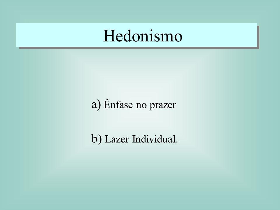 Hedonismo a) Ênfase no prazer b) Lazer Individual.
