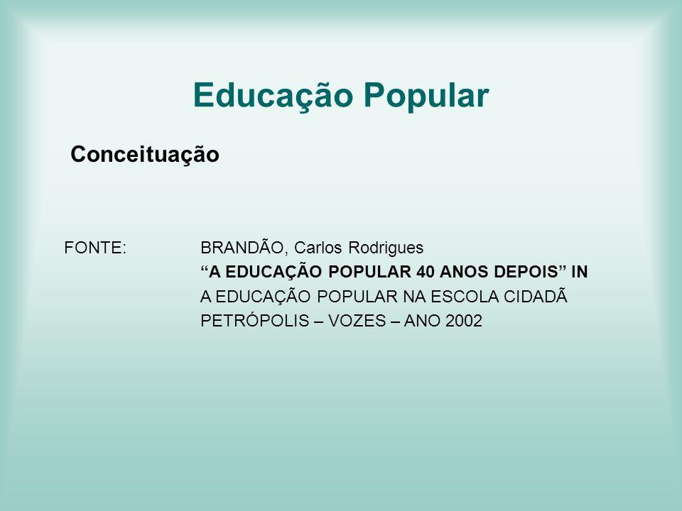 Educação Popular Conceituação FONTE: BRANDÃO, Carlos Rodrigues
