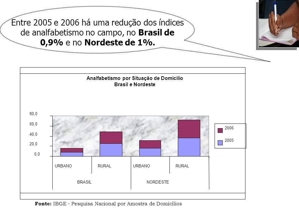 Entre 2005 e 2006 há uma redução dos índices de analfabetismo no campo, no Brasil de 0,9% e no Nordeste de 1%.