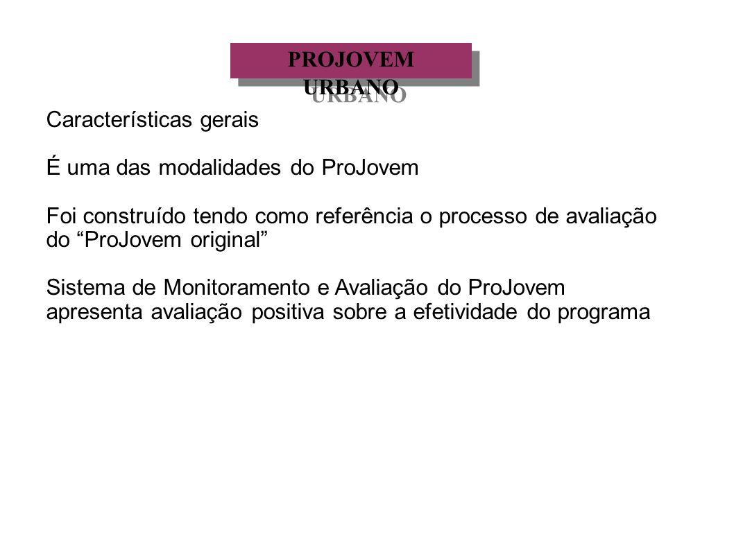 PROJOVEM URBANO Características gerais. É uma das modalidades do ProJovem.