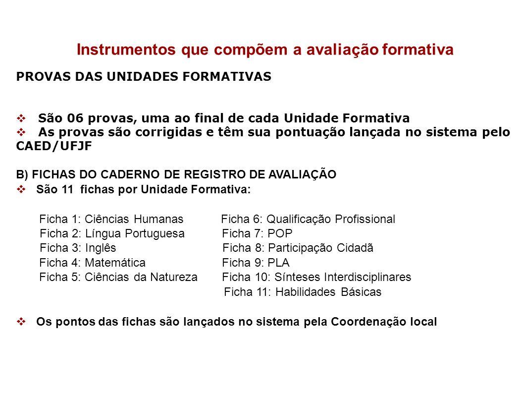 Instrumentos que compõem a avaliação formativa