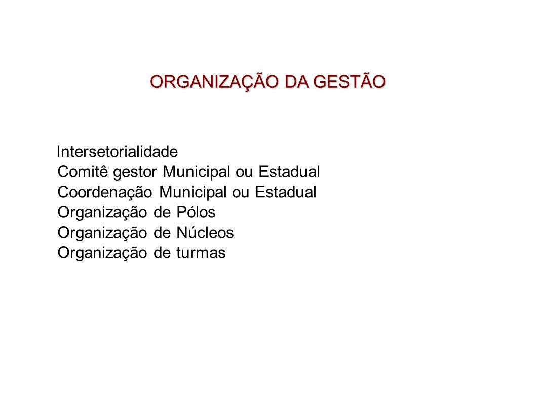 ORGANIZAÇÃO DA GESTÃO Comitê gestor Municipal ou Estadual