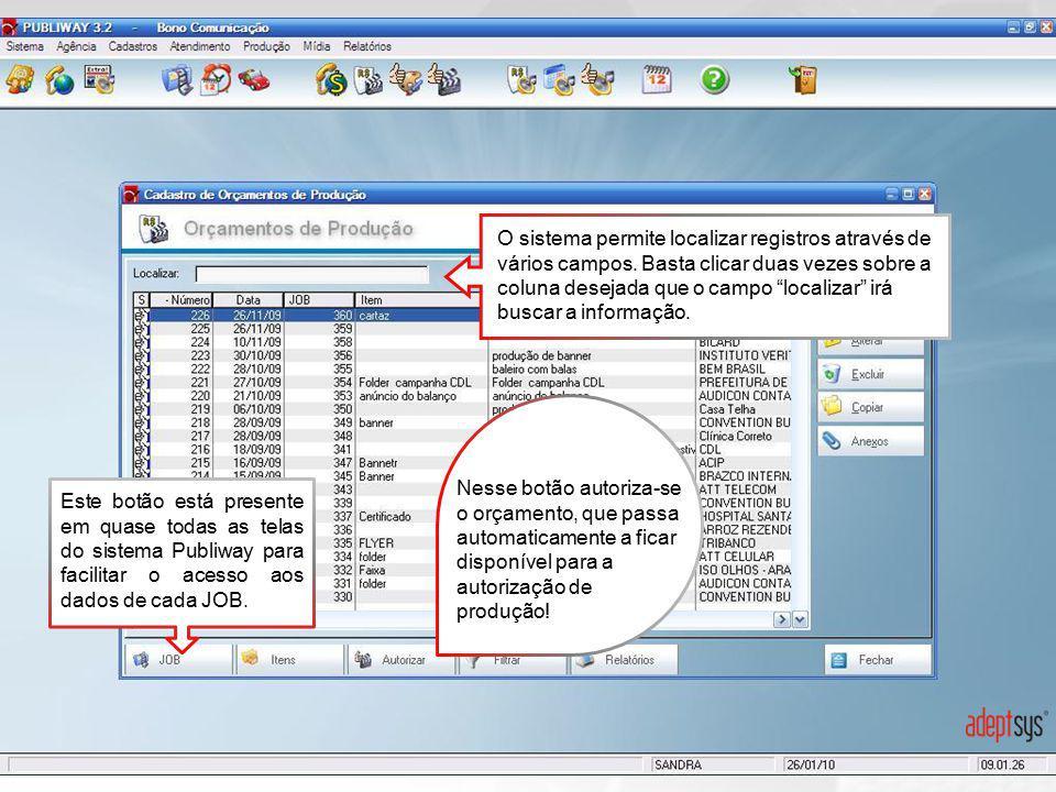 O sistema permite localizar registros através de vários campos