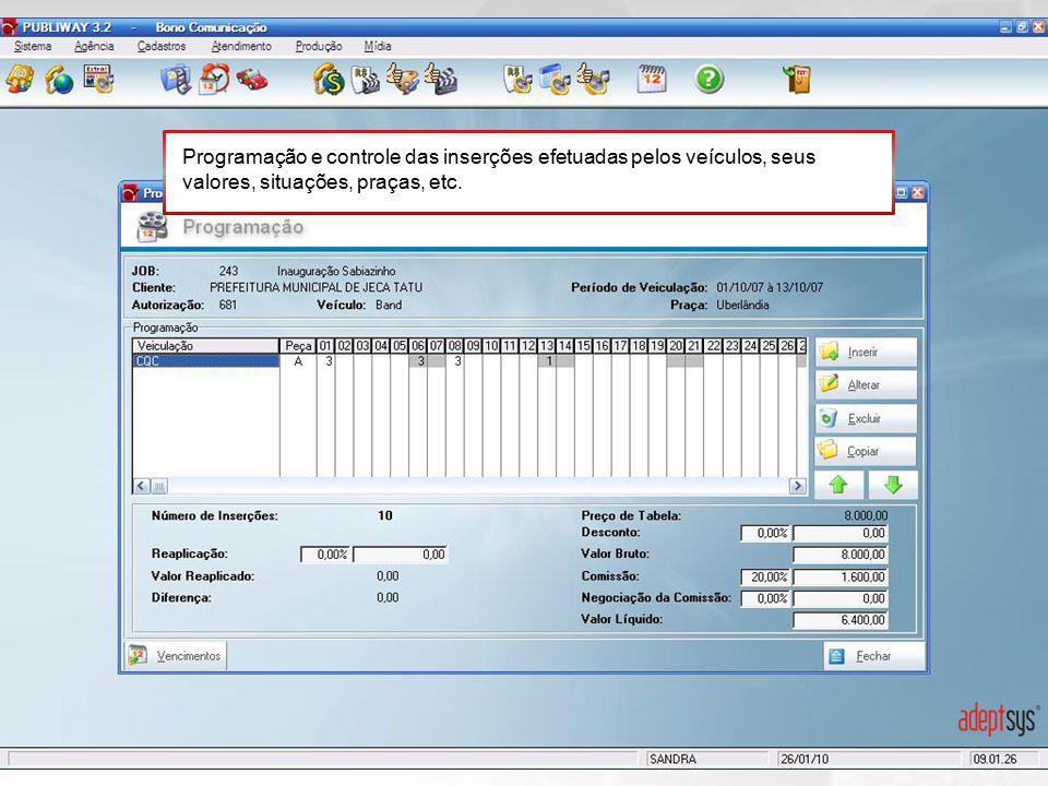 Programação e controle das inserções efetuadas pelos veículos, seus valores, situações, praças, etc.