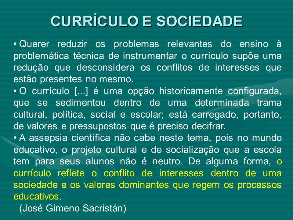CURRÍCULO E SOCIEDADE