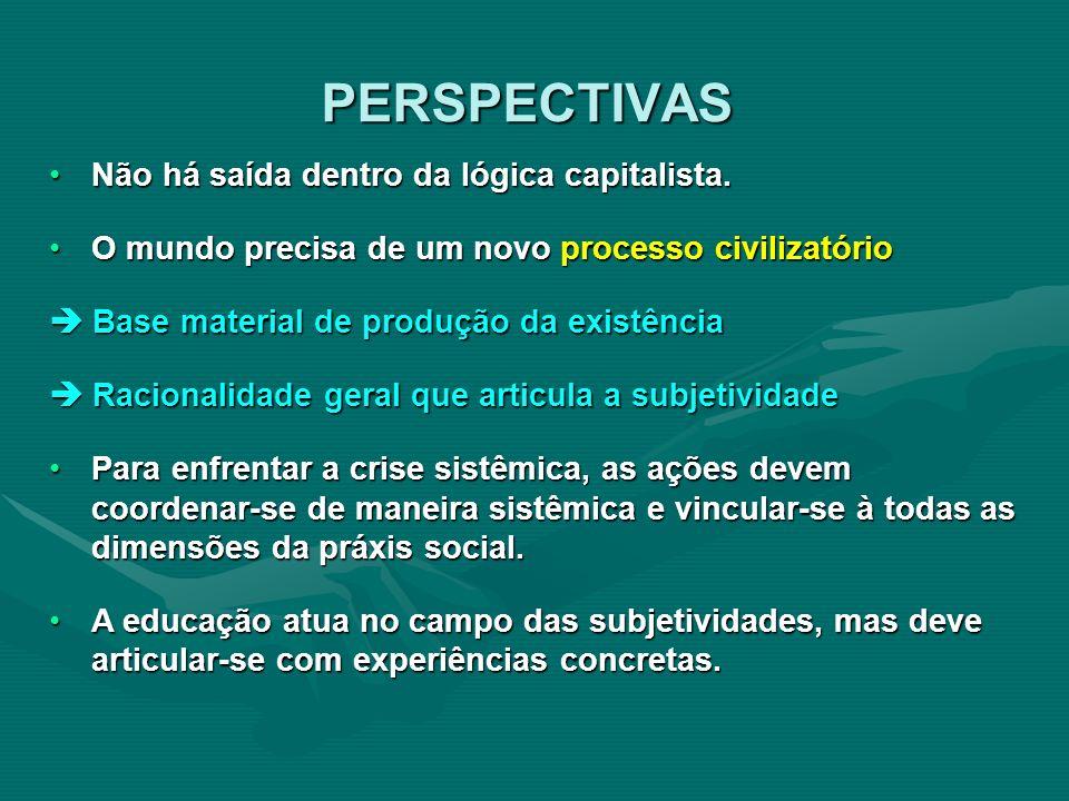 PERSPECTIVAS Não há saída dentro da lógica capitalista.