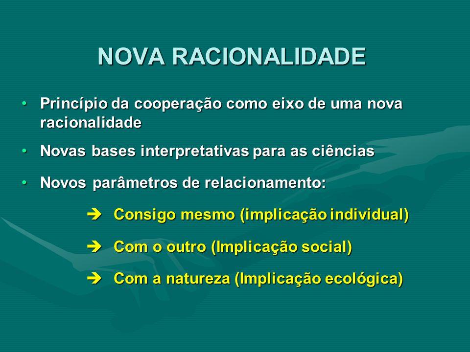 NOVA RACIONALIDADE Princípio da cooperação como eixo de uma nova racionalidade. Novas bases interpretativas para as ciências.