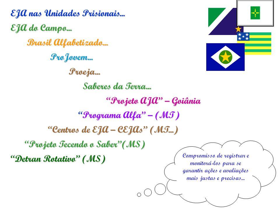 EJA nas Unidades Prisionais... EJA do Campo... Brasil Alfabetizado...