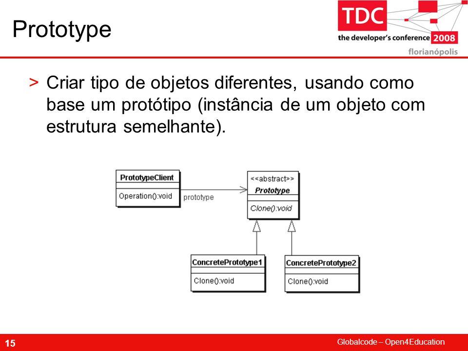 Prototype Criar tipo de objetos diferentes, usando como base um protótipo (instância de um objeto com estrutura semelhante).