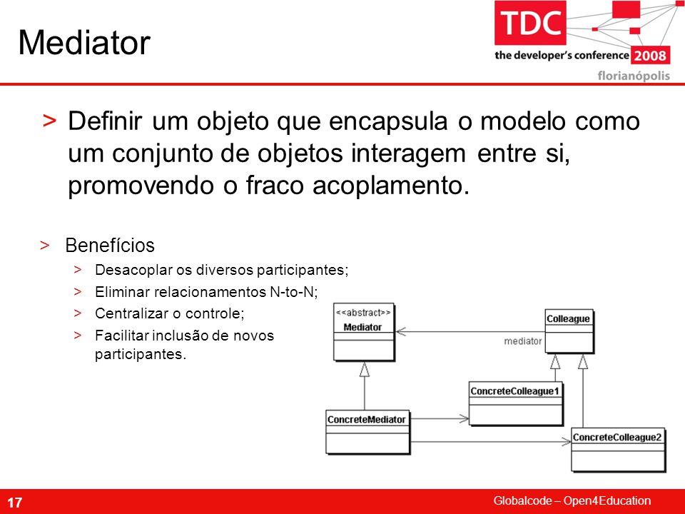 Mediator Definir um objeto que encapsula o modelo como um conjunto de objetos interagem entre si, promovendo o fraco acoplamento.