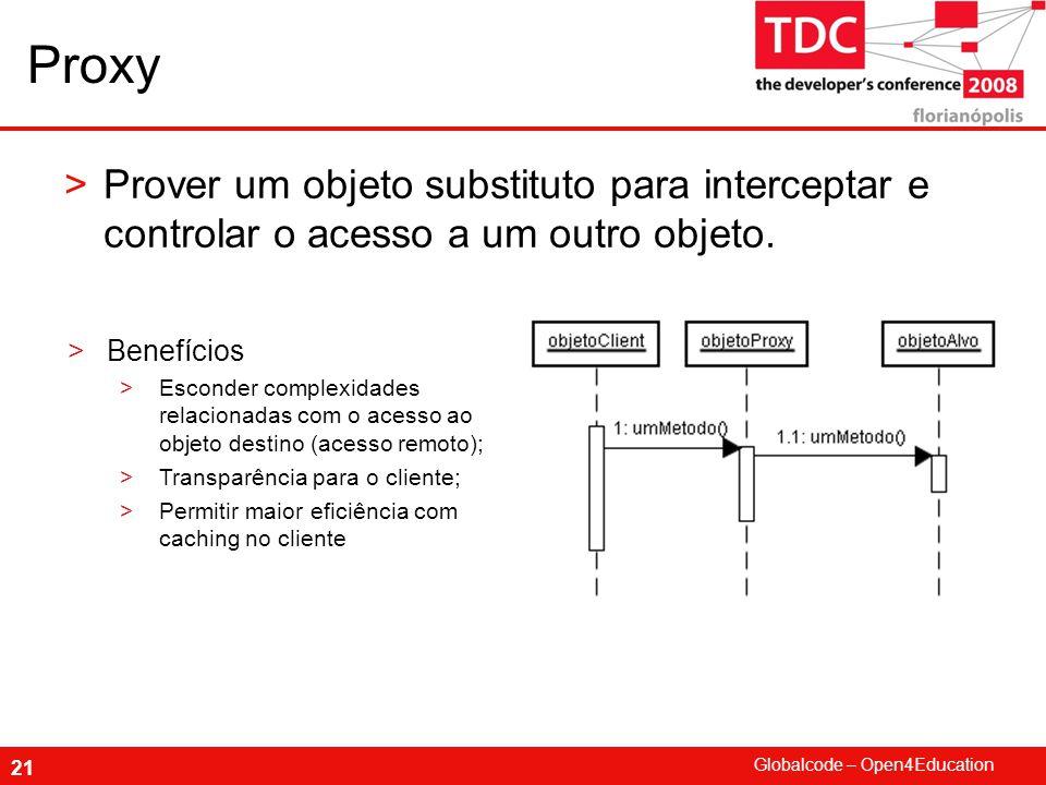 Proxy Prover um objeto substituto para interceptar e controlar o acesso a um outro objeto. Benefícios.