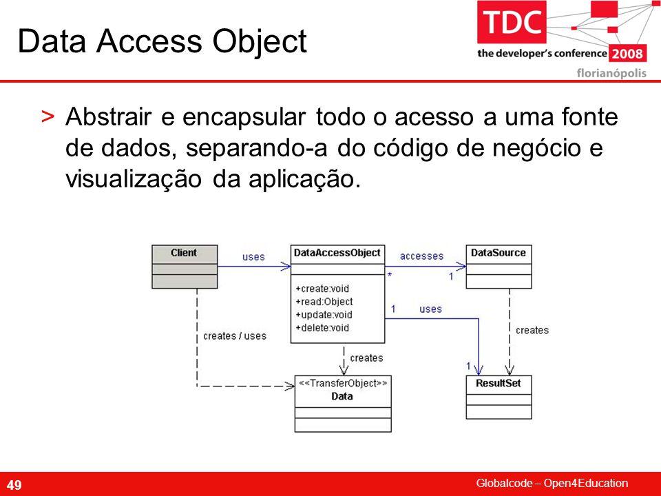 Data Access Object Abstrair e encapsular todo o acesso a uma fonte de dados, separando-a do código de negócio e visualização da aplicação.