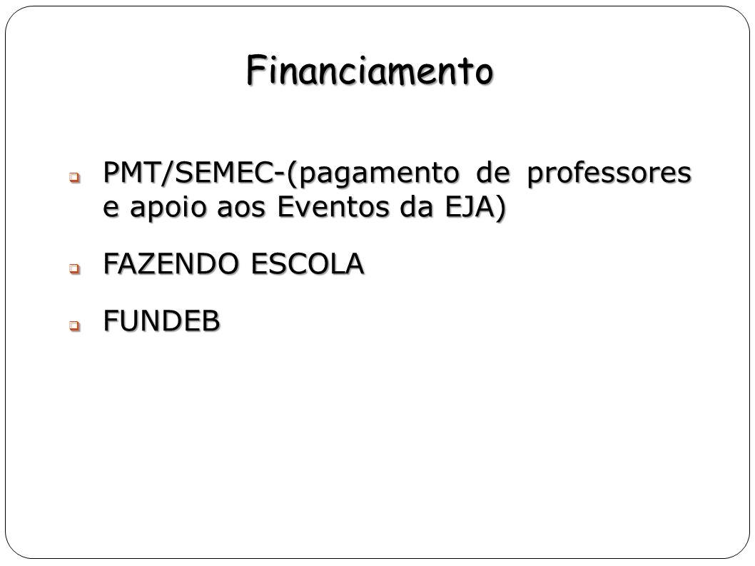 Financiamento PMT/SEMEC-(pagamento de professores e apoio aos Eventos da EJA) FAZENDO ESCOLA.