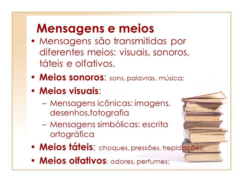 Mensagens e meios Mensagens são transmitidas por diferentes meios: visuais, sonoros, táteis e olfativos.