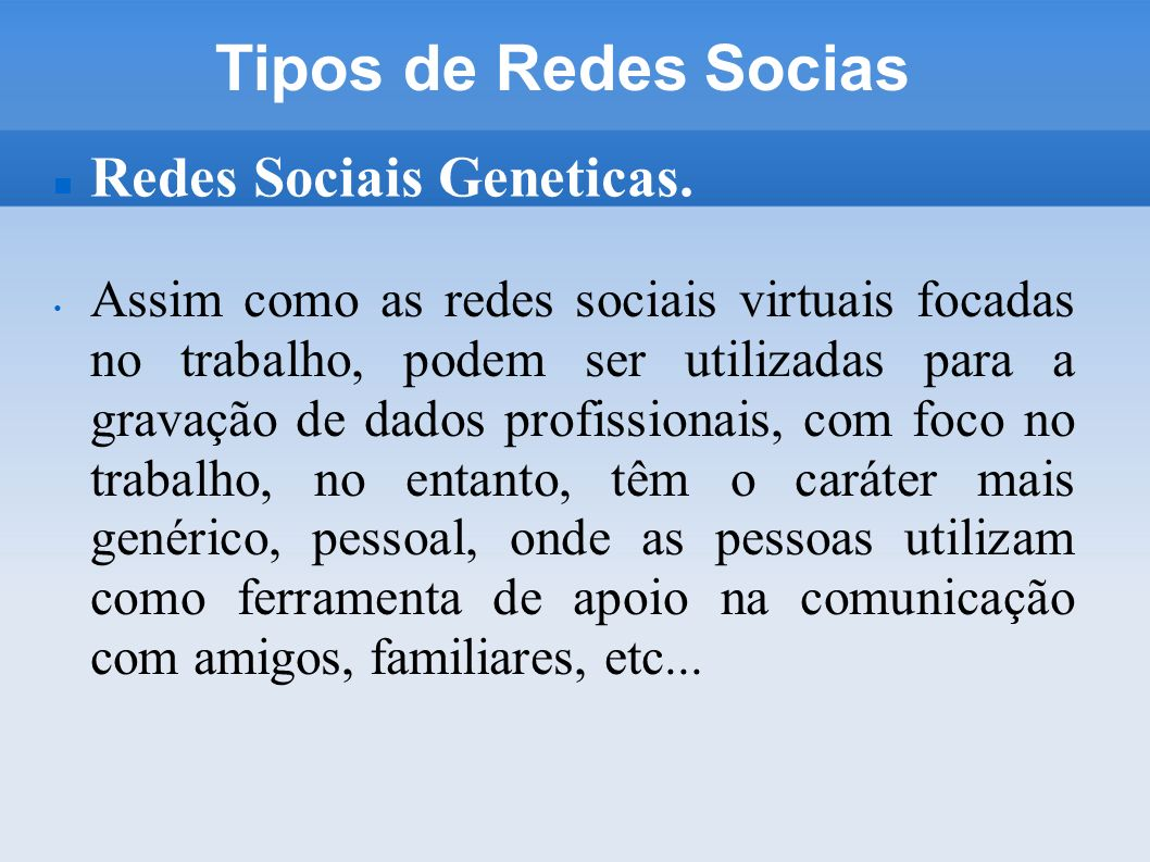 Tipos de Redes Socias Redes Sociais Geneticas.