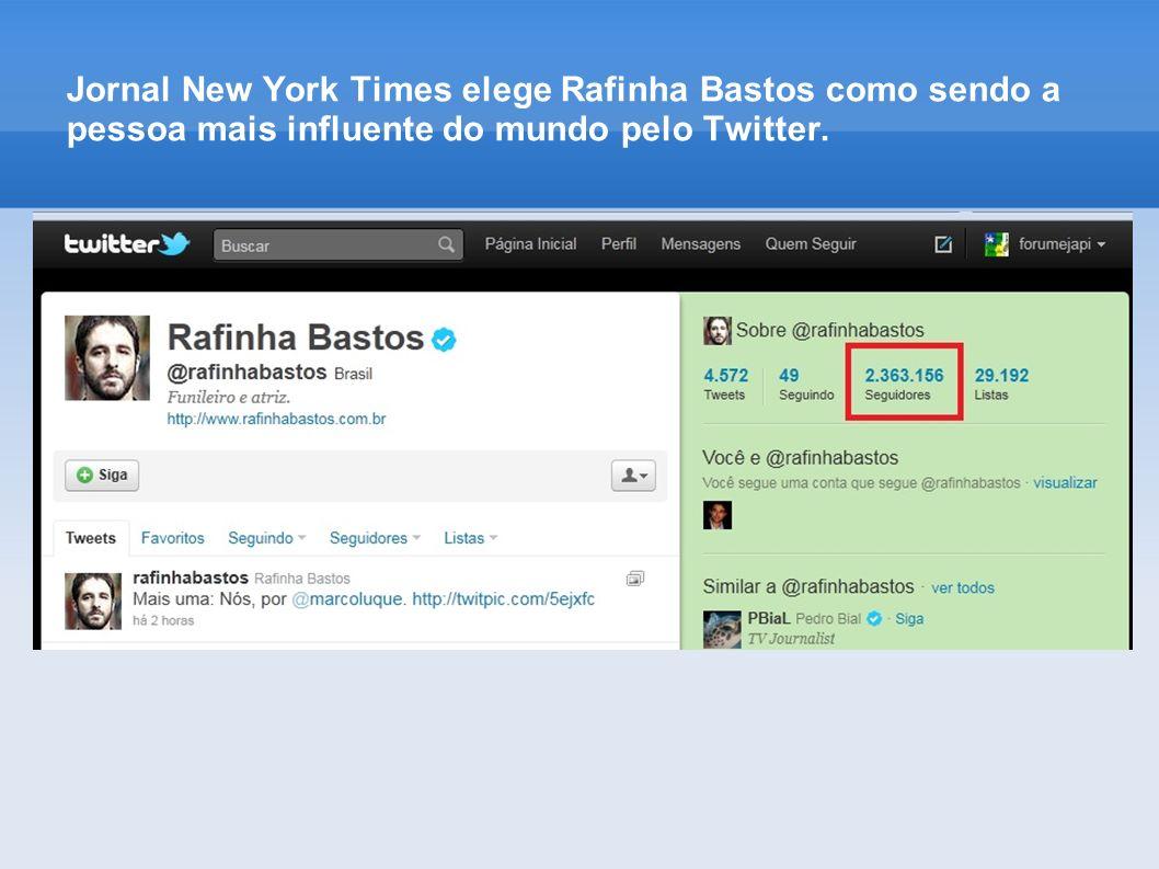 Jornal New York Times elege Rafinha Bastos como sendo a pessoa mais influente do mundo pelo Twitter.