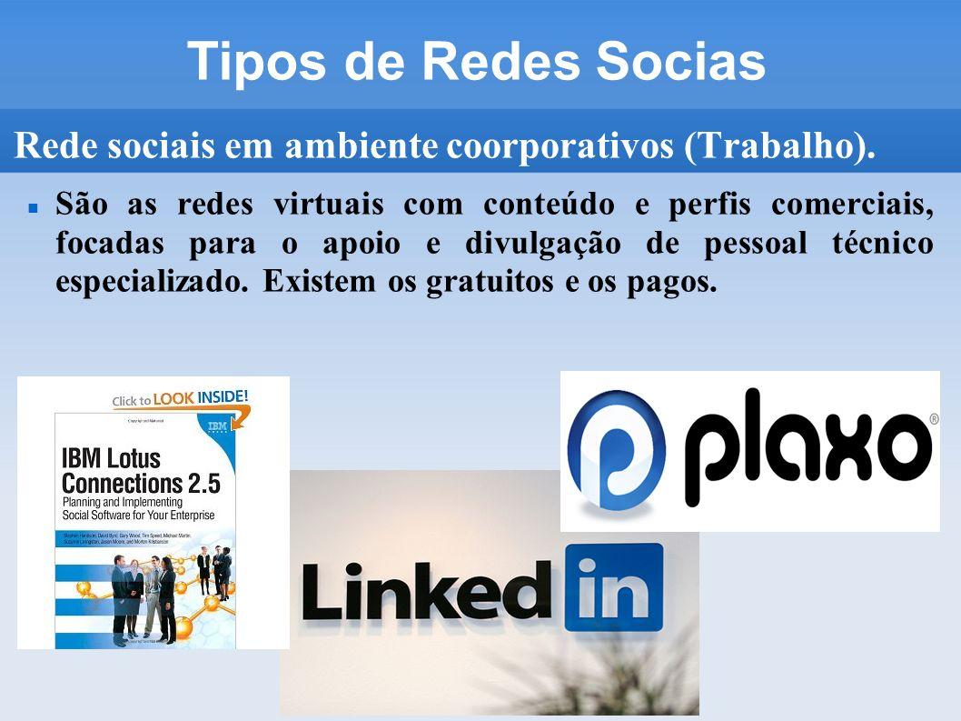 Tipos de Redes Socias Rede sociais em ambiente coorporativos (Trabalho).
