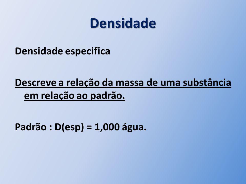 Densidade Densidade especifica Descreve a relação da massa de uma substância em relação ao padrão.