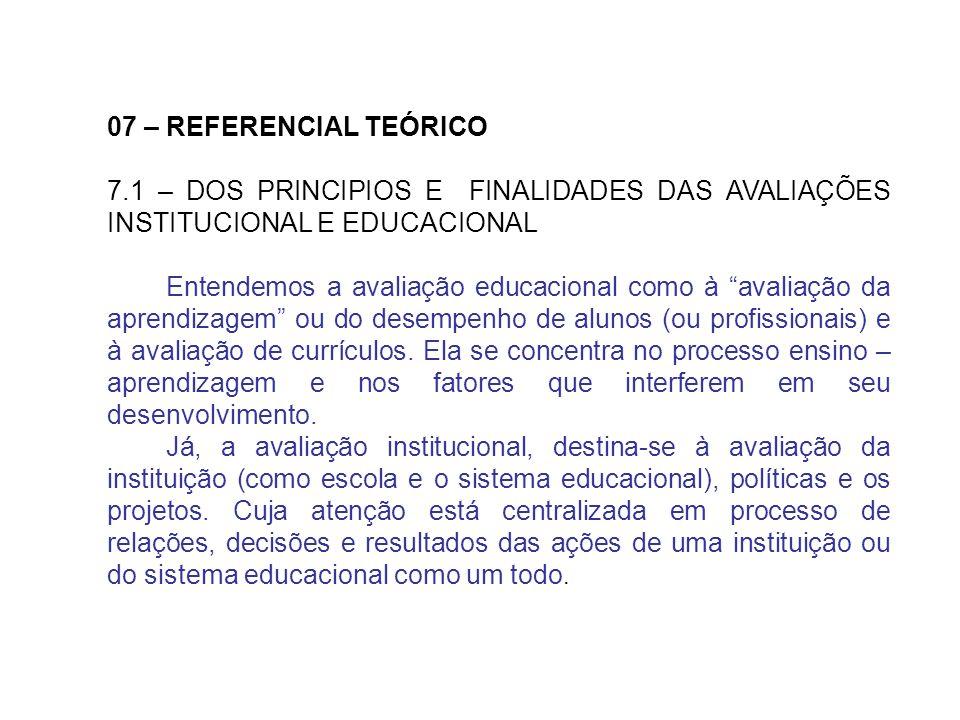 07 – REFERENCIAL TEÓRICO7.1 – DOS PRINCIPIOS E FINALIDADES DAS AVALIAÇÕES INSTITUCIONAL E EDUCACIONAL.