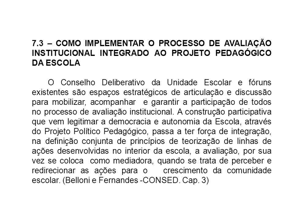 7.3 – COMO IMPLEMENTAR O PROCESSO DE AVALIAÇÃO INSTITUCIONAL INTEGRADO AO PROJETO PEDAGÓGICO DA ESCOLA