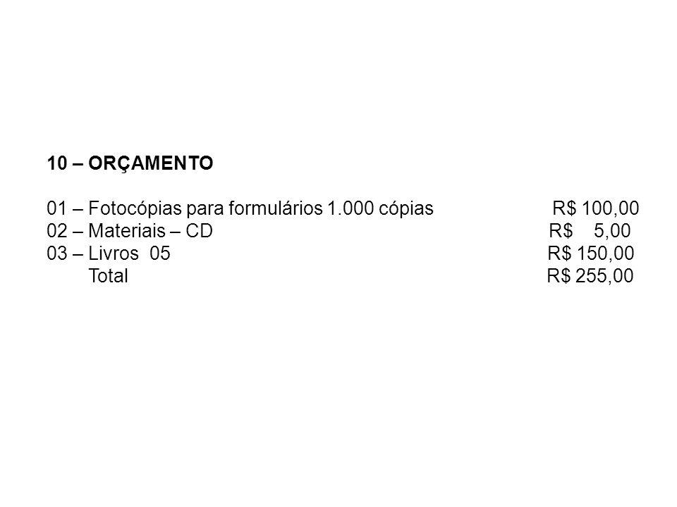 10 – ORÇAMENTO01 – Fotocópias para formulários 1.000 cópias R$ 100,00.