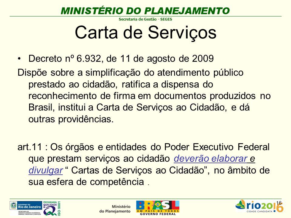 Carta de Serviços Decreto nº 6.932, de 11 de agosto de 2009