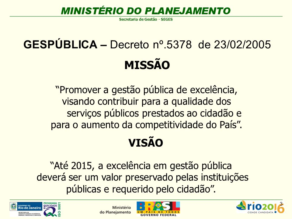 GESPÚBLICA – Decreto nº.5378 de 23/02/2005 MISSÃO
