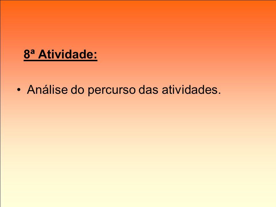 8ª Atividade: Análise do percurso das atividades.