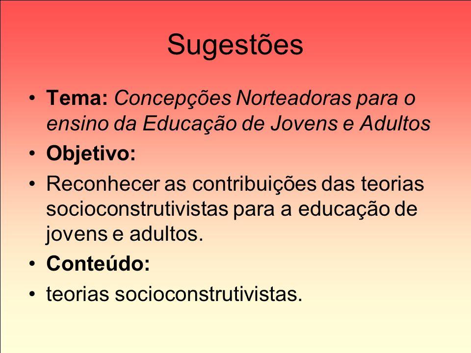 Sugestões Tema: Concepções Norteadoras para o ensino da Educação de Jovens e Adultos. Objetivo: