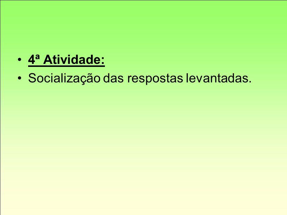 4ª Atividade: Socialização das respostas levantadas.