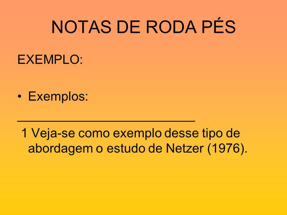 NOTAS DE RODA PÉS EXEMPLO: Exemplos: _________________________