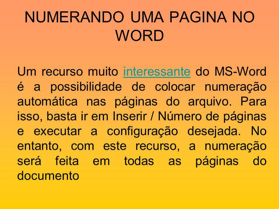NUMERANDO UMA PAGINA NO WORD