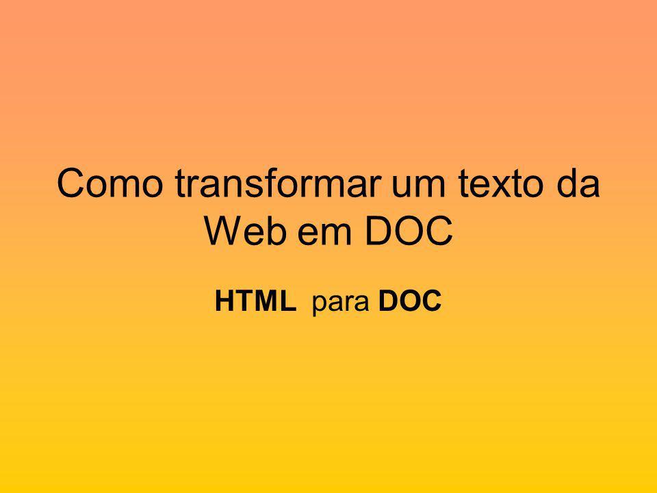 Como transformar um texto da Web em DOC