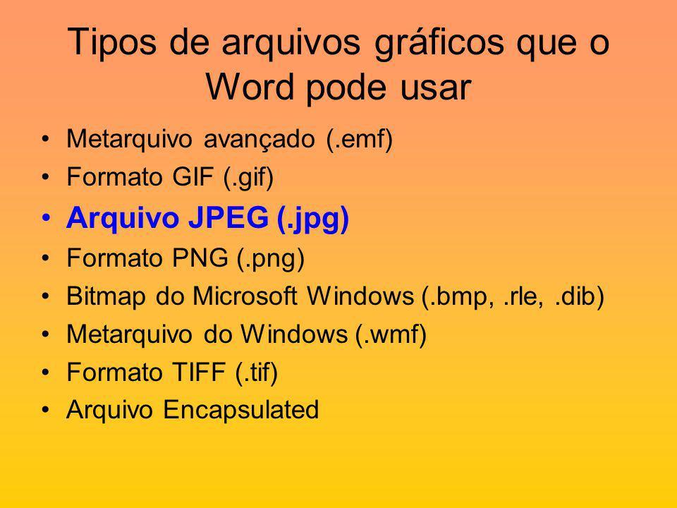 Tipos de arquivos gráficos que o Word pode usar