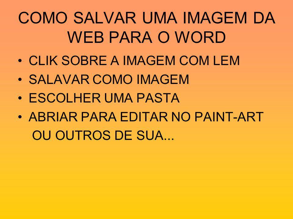 COMO SALVAR UMA IMAGEM DA WEB PARA O WORD