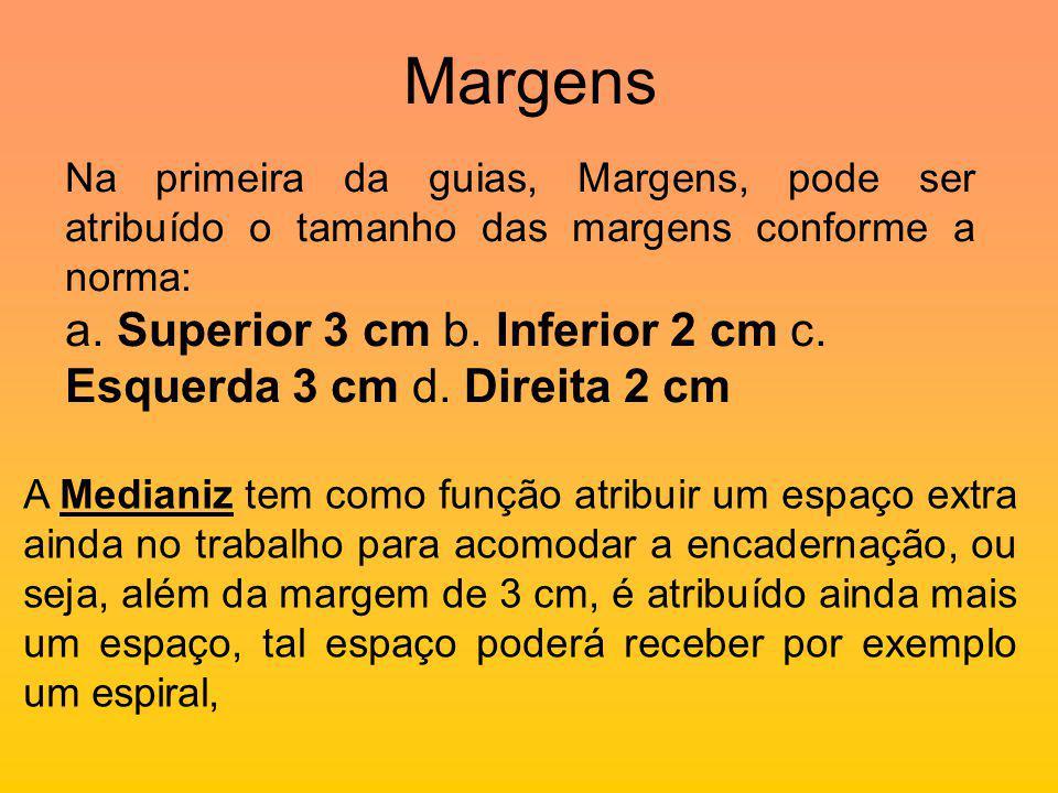 Margens Na primeira da guias, Margens, pode ser atribuído o tamanho das margens conforme a norma: