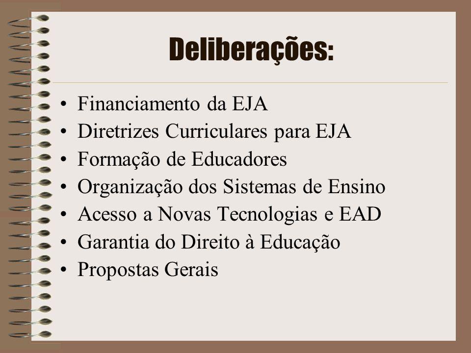 Deliberações: Financiamento da EJA Diretrizes Curriculares para EJA